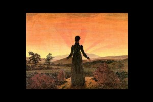 """Woman before the setting sun"" av Caspar David Friedrich (1818)."