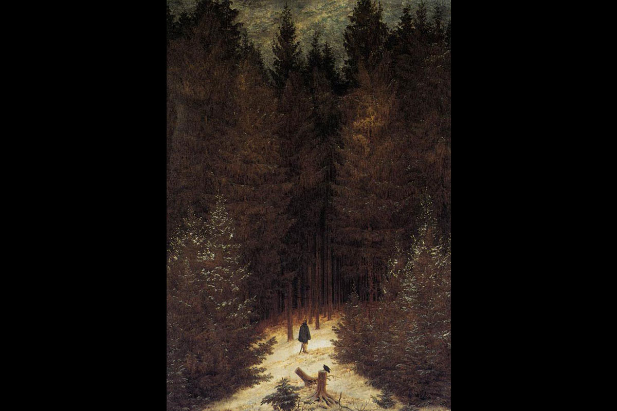 """The Chasseur in the Forest"" av Caspar David Friedrich (1814)."